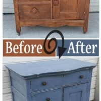 Before & After - Antique Cabinet in distressed Slate Blue with Black Glaze. From Facelift Furniture.