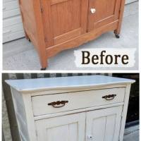 Before & After - Antique Cabinet in distressed Antiqued White with Tobacco Glaze. From Facelift Furniture.