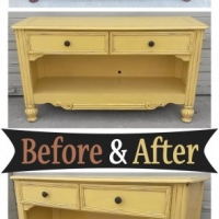 Before & After - Console in Sunflower Yellow with light Black Glaze. From Facelift Furniture.