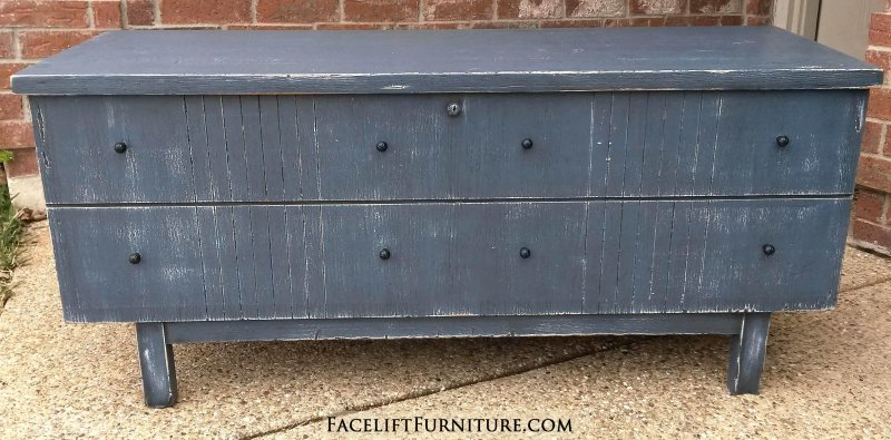 "Vintage mid-century modern cedar chest in rustic deep blue with black glaze. Great for a boy's room, or repurposed as an entryway bench. 47"" long, 16.5"" deep, 21"" tall."