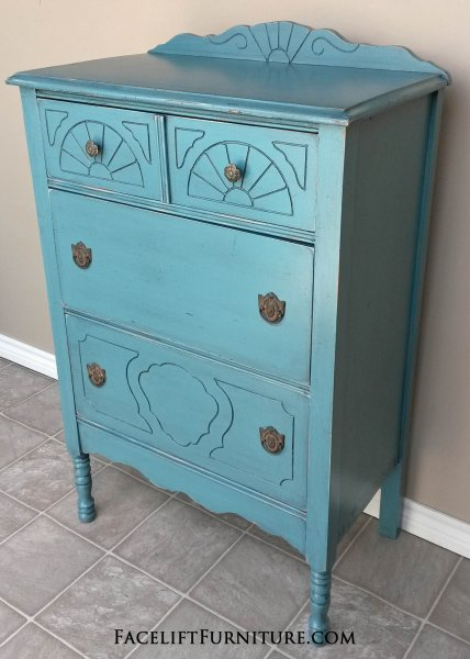 Antique Chest in distressed Sea Blue with Black Glaze. Original pulls.
