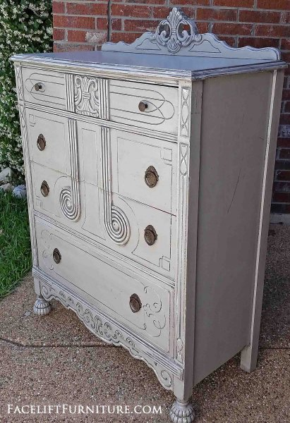 "Art deco antique chest of drawers in distressed Aspen Gray with Black Glaze. Four drawers with original pulls. 51"" tall, 36"" wide, 17.5"" deep."