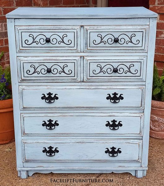 Art Deco Chest Of Drawers In Distressed Robin S Egg Blue Black Glaze Accents Heavy Wood