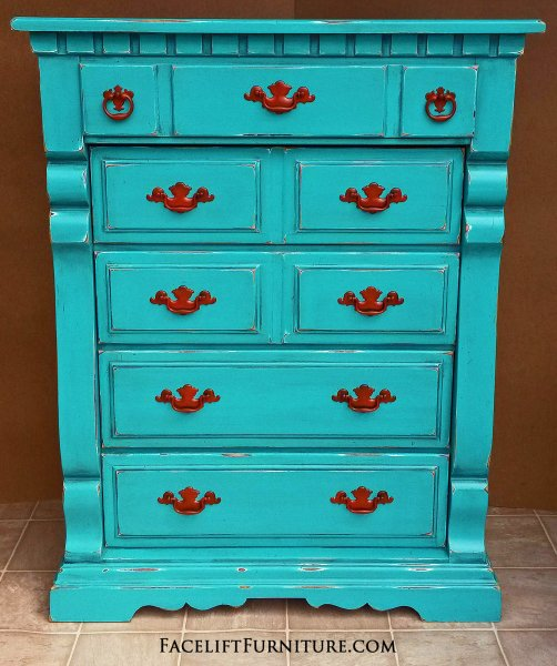 "Tall Chunky Chest of Drawers in distressed Turquoise with Black Glaze. Pulls painted Paprika! Five all wood drawers. 52"" tall, 40"" wide, 19"" deep."