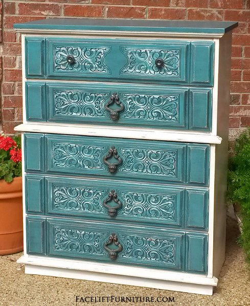 "Chest of Drawers in Sea Blue and Off White, with Black Glaze. Distressing reveals white primer and original wood tones. 47"" tall, 38"" wide, 18"" deep. Call 979-575-7627 to purchase."