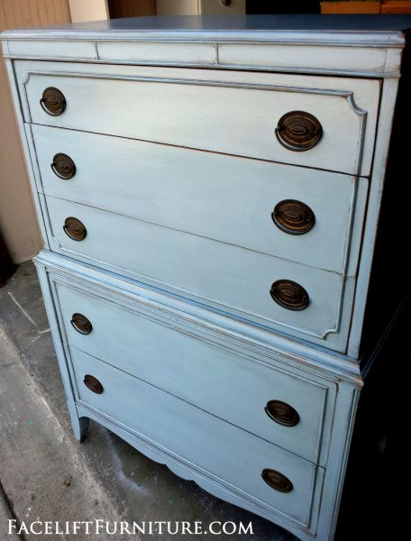 Antique Chest in Pale Grey-Blue with Black Glaze. Original pulls. From Facelift Furniture's Chests of Drawers collection.