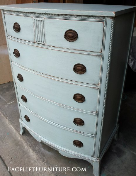 "Antique Chest custom painted in Home Depot Behr ""Rain Washed"" (a soft blue), with Black Glaze accenting detailed areas. From Facelift Furniture's Chests of Drawers collection."