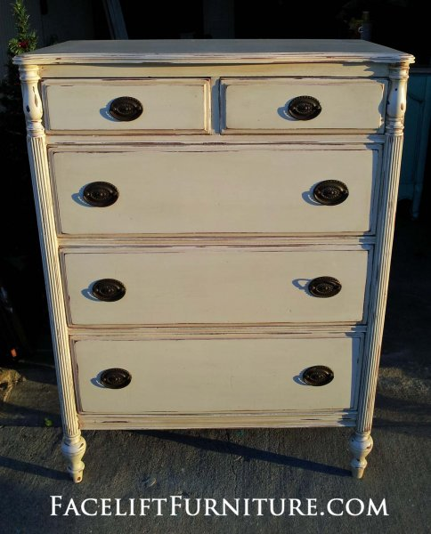 Antique Mahogany Chest of Drawers in Distressed Off White and Tobacco Glaze. From Facelift Furniture's Chests of Drawers collection.