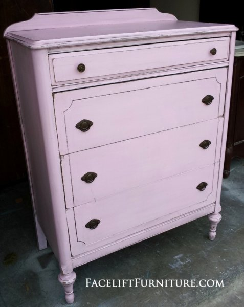 Antique Chest of Drawers in Soft Pink and Black Glaze. From Facelift Furniture's Chests of Drawers collection.