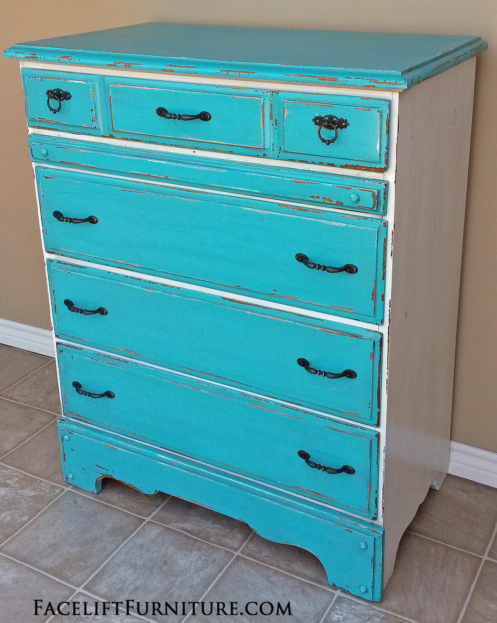 "Turquoise and Antiqued White Chest of Drawers with Espresso Glaze. Heavy chippy distressing. New oil rubbed bronze pulls. 40"" tall, 32.5"" wide, 18"" deep."