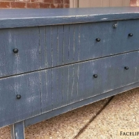 """Vintage mid-century modern cedar chest in rustic deep blue with black glaze. Great for a boy's room, or repurposed as an entryway bench. 47"""" long, 16.5"""" deep, 21"""" tall."""