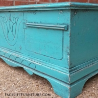 Small Rustic Cedar Chest in distressed Turquoise with Black Glaze. From Facelift Furniture's Chests of Drawers collection.