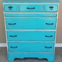 """Turquoise and Antiqued White Chest of Drawers with Espresso Glaze. Heavy chippy distressing. New oil rubbed bronze pulls. 40"""" tall, 32.5"""" wide, 18"""" deep."""