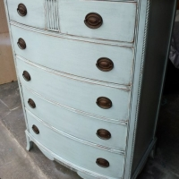 """Antique Chest custom painted in Home Depot Behr """"Rain Washed"""" (a soft blue), with Black Glaze accenting detailed areas. From Facelift Furniture's Chests of Drawers collection."""