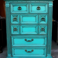 Chunky Chest of Drawers in distressed Turquoise, with heavy Black Glaze accenting detailed areas. From Facelift Furniture's Chests of Drawers collection.