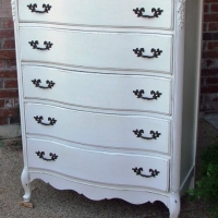 French Provincial Chest of Drawers in Antiqued White. Original Pulls. From Facelift Furniture's Chests of Drawers collection.