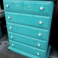 Distressed Turquoise Chest with White Glaze. From Facelift Furniture's Chests of Drawers collection.