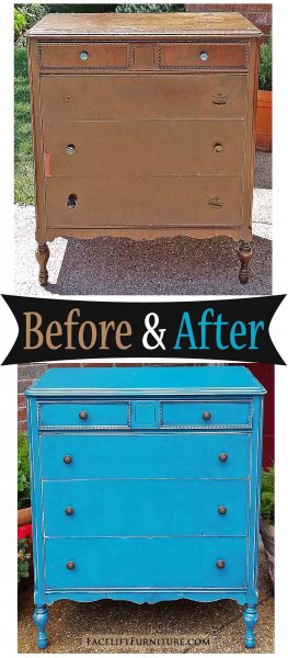 Antique Chest Peacock Blue - Before & After