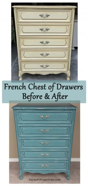 Before & After - French Chest in distressed Sea Blue with Black Glaze. Original vintage pulls.