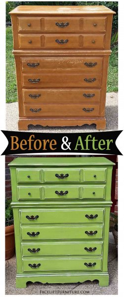 Lime Green Maple Chest - Before & After