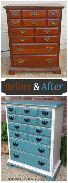 Before & After - Maple Chest in distressed Sea Blue & Off White with Black Glaze. From Facelift Furniture.