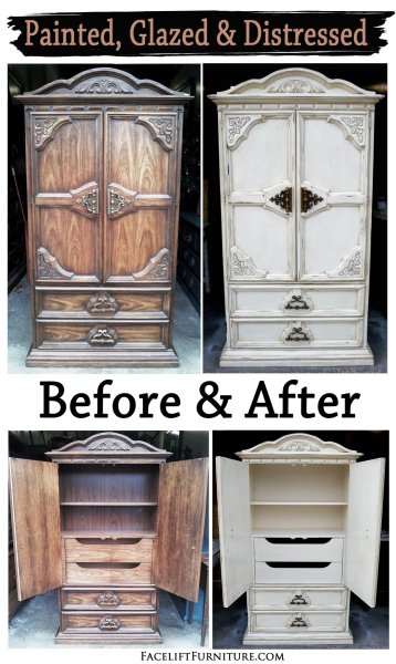 Before & After - Chunky Clothing Armoire in distressed Off White with Tobacco Glaze. From Facelift Furniture.