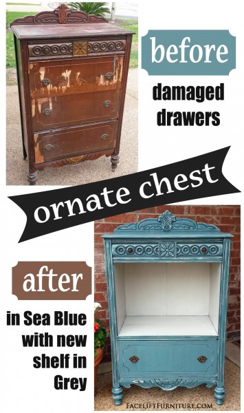 """Before & After - Ornate Chest with damaged drawers repurposed into shelf area. In distressed Sea Blue with Black Glaze. From Facelift Furniture. <a title=""""Chest of Drawers Repurposed with Display Shelf"""" href=""""http://faceliftfurnit.wpengine.com/chest-of-drawers-repurposed-display-shelf/"""">Read more about this transformation on our blog!</a>"""