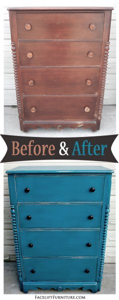 Before & After - Antique mahogany Chest in distressed Peacock Blue with Black Glaze. From Facelift Furniture.