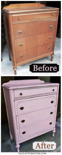 Before & After - Antique Chest in Pink with Black Glaze. From Facelift Furniture.