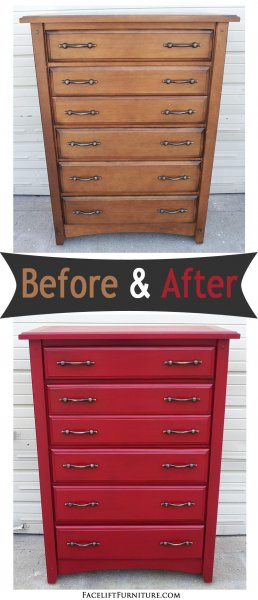 Before & After - Pine Chest in Barn Red with Black Glaze. From Facelift Furniture.