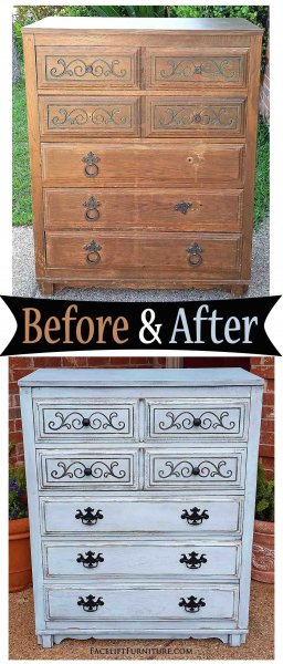 Robins Egg Art Deco Chest - Before & After