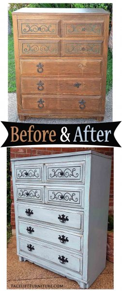 Robins Egg Art Deco Chest Side - Before & After