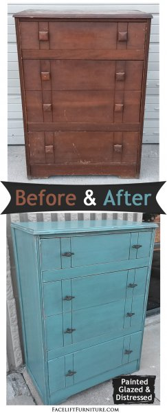 Before & After - Chunky Vintage Chest in distressed Turquoise with Black Glaze. From Facelift Furniture.