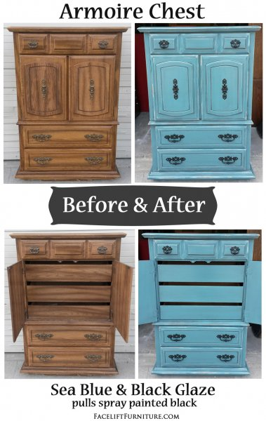 Before & After - Armoire Chest in distressed Sea Blue with Black Glaze. Vintage pulls painted black. From Facelift Furniture