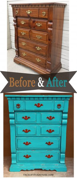 Turqouise Chest Paprika Pulls - Before & After