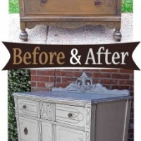 Aspen Gray Art Deco Chest Side- Before & After