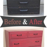 Barn Red Boxy Chest - Before & After