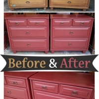 Before & After - Matching Oak Chests in Barn Red with Black Glaze. From Facelift Furniture.