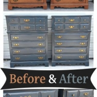 Before & After - Matching Maple Chests in distressed Blue Smoke with Black Glaze. From Facelift Furniture.