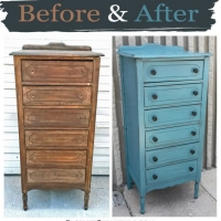 Narrow Sea Blue Chest - Before & After