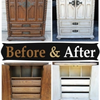 Clothing Armoire in distressed Off White with Tobacco Glaze - Before and After from Facelift Furniture