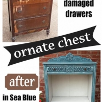 "Before & After - Ornate Chest with damaged drawers repurposed into shelf area. In distressed Sea Blue with Black Glaze. From Facelift Furniture. <a title=""Chest of Drawers Repurposed with Display Shelf"" href=""http://faceliftfurnit.wpengine.com/chest-of-drawers-repurposed-display-shelf/"">Read more about this transformation on our blog!</a>"