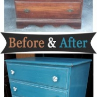 Before & After - Vintage solid oak Highboy Chest in Peacock Blue with White Glaze. From Facelift Furniture.