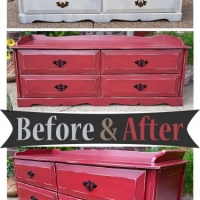 Red Bench with Drawers - Before & After