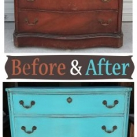 Turquoise Antique Dresser - Before & After