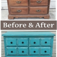Wide Turquoise Chest - Before & After