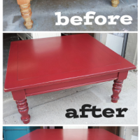 Barn Red Coffee Table - Before & After