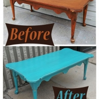 Curvy Turqouise Coffee Table - Before & After