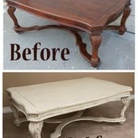 Before & After - Ornate Coffee table in Distressed Off White with Tobacco Glaze. From Facelift Furniture.