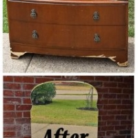 Antiqued White Vanity - Before & After